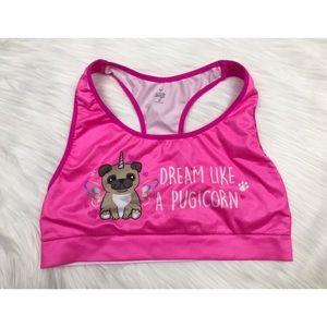 Justice Pink Unicorn Pug Sports Bra 36